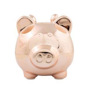 Money bank pig wings rosé gold medium