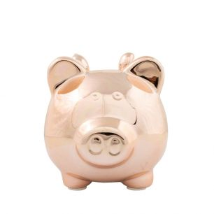 Money bank pig wings rosé gold small