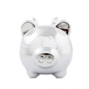 Money bank pig wing silver medium
