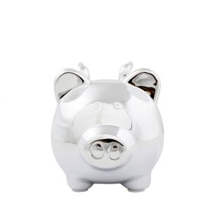 Money bank pig wing silver small