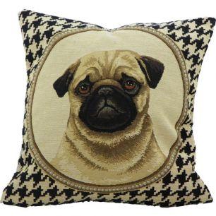 Gobelin cushion pug double-sided 33x33cm