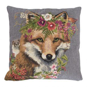 Gobelin cushion flowers fox 45x45cm