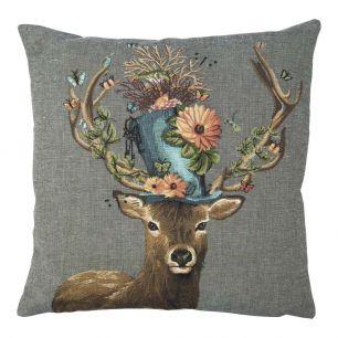 Gobelin cushion funky deer hat 45x45cm