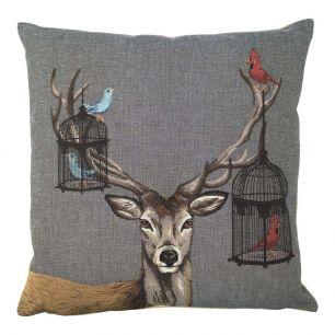 Gobelin cushion funky deer birdcage 45x45cm