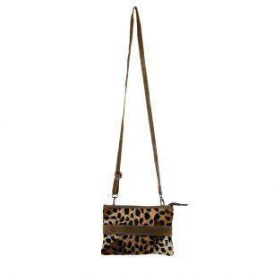 Crossbody bag envelope brown panther (bos taurus taurus)