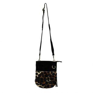 Crossbody bag round black giraffe (bos taurus taurus)