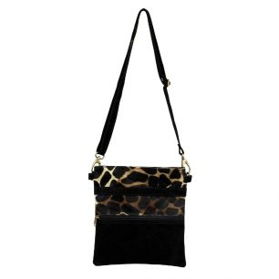 Crossbody bag vertical black giraffe (bos taurus taurus)