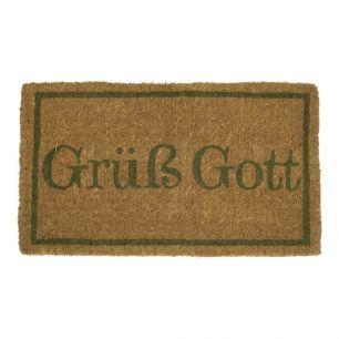 Coir doormat handmade grüß gott green