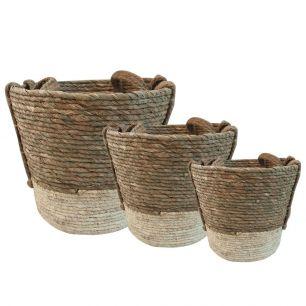Basket naturel ecru (set of3)
