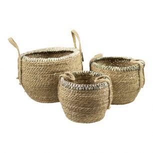 Basket natural braided edge (set of 3)