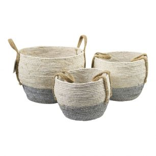 Basket white grey with handle set of 3