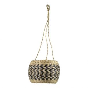 Seagrass hanging flowerpot black 18cm