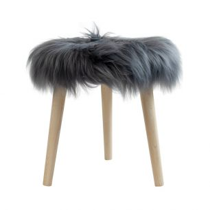 Stool round fur sheep dia 36cm dark grey (ovis aries)
