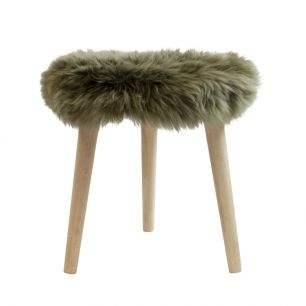 Stool round fur sheep dia 36cm olive green (ovis aries)