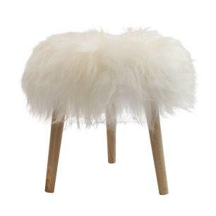Stool round fur sheep dia 36cm white (ovis aries)