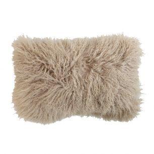Cushion sheep curly hair beige 30x50cm