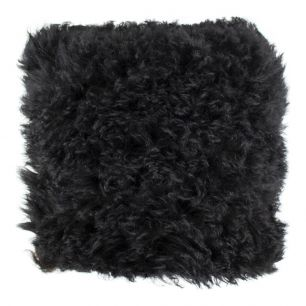Cushion sheep wool black 40x40cm (ovis aries)