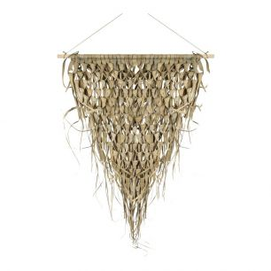 Wall tapestry braided palm leaf triangle on stick 55cm