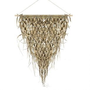 Wall tapestry braided palm leaf triangle on stick 75cm